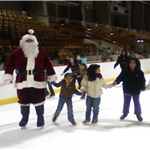 Image of skaters with Santa during skate with Santa