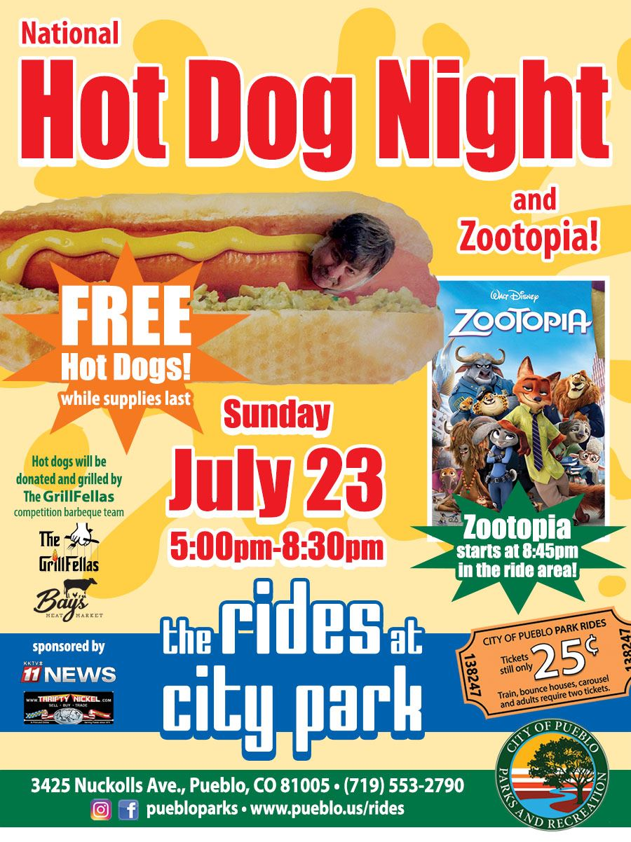 National Hot Dog Night at The Rides at City Park! Free hot dogs while supplies last. Sunday July 23