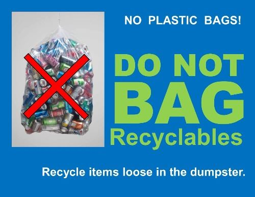 No plastic bags! Do not bag recyclables. Recycle items loose in the dumpster.