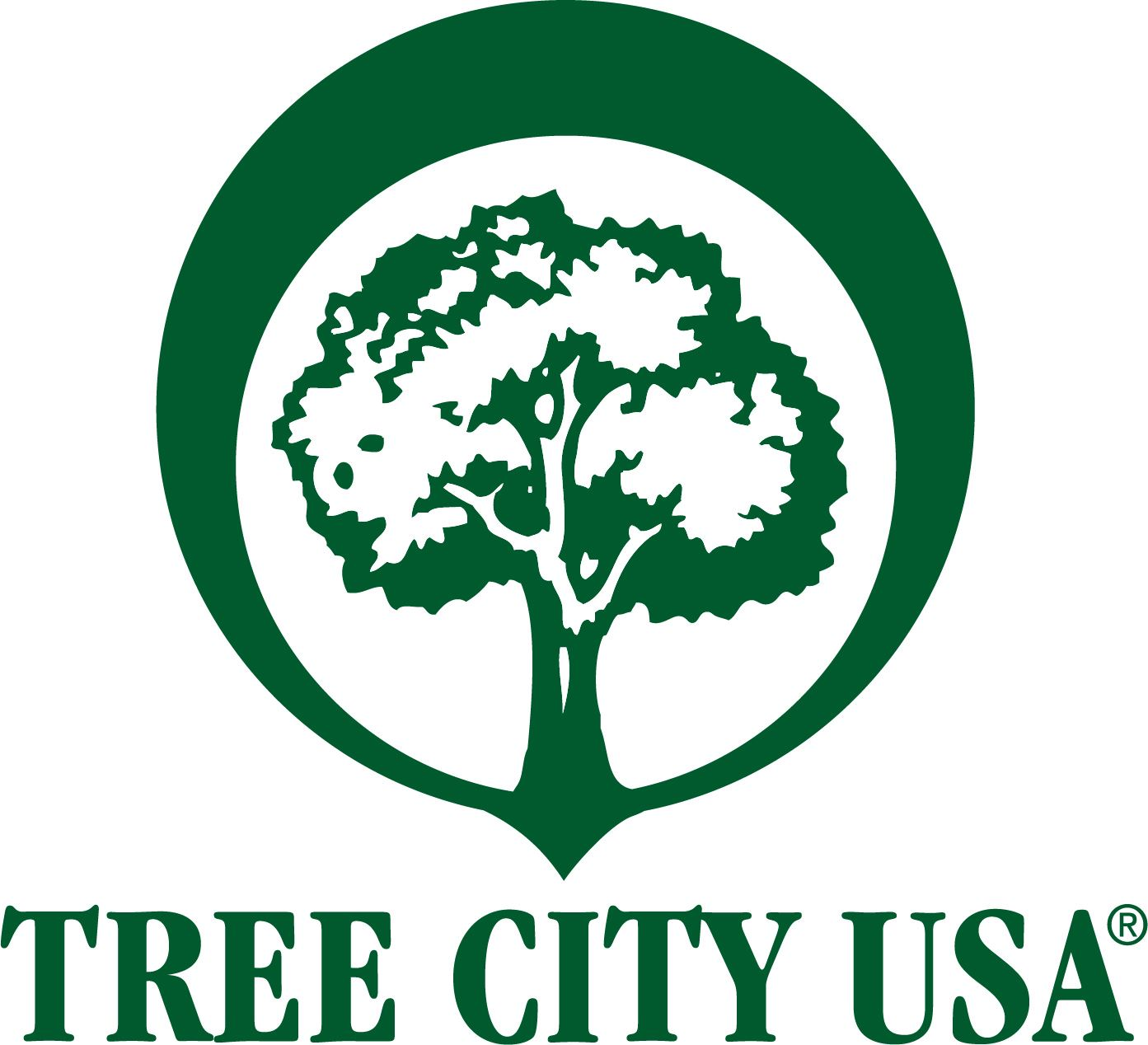 Green tree with white background text Tree City USA logo