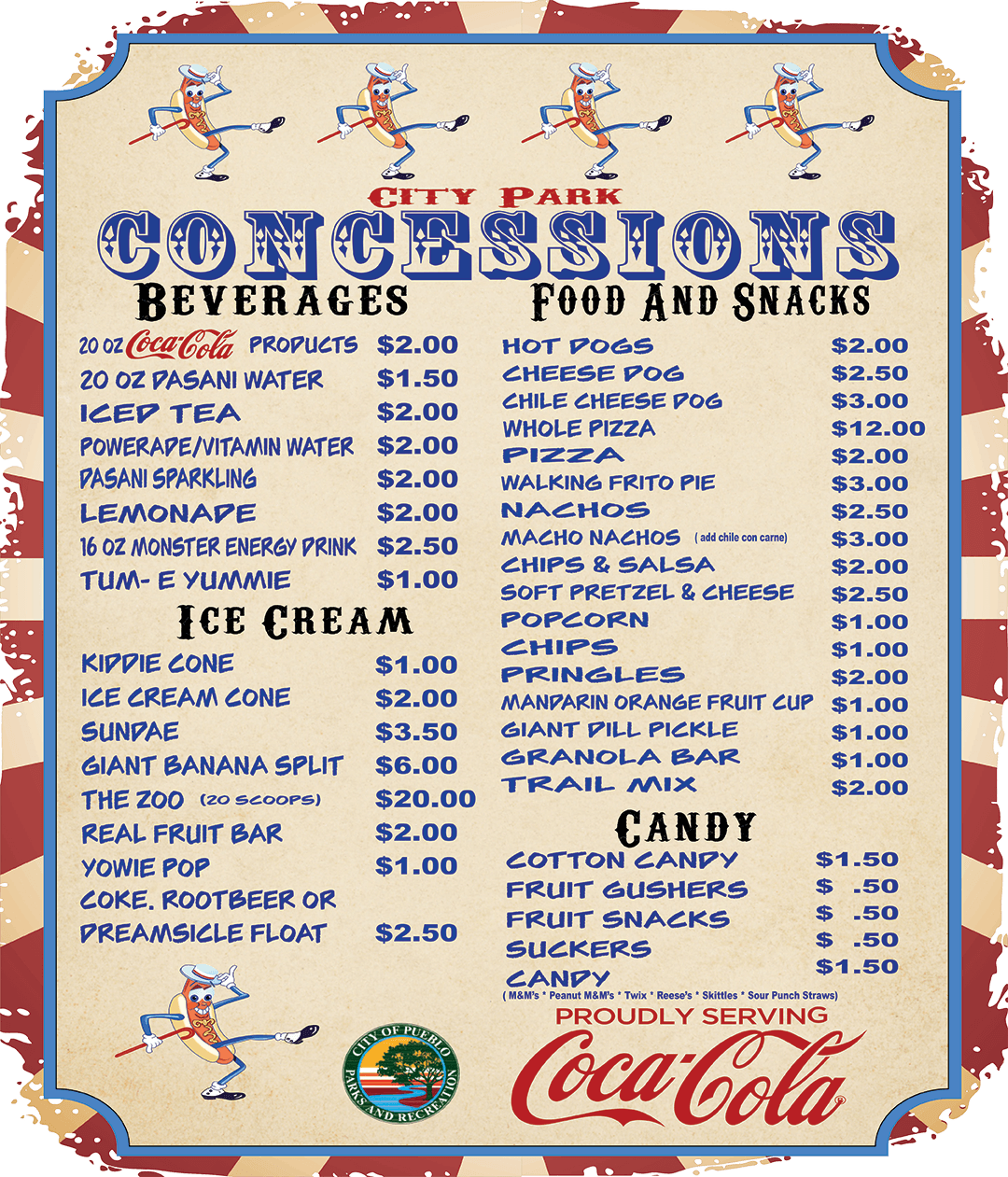 City Park concessions menu