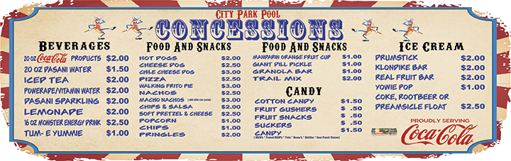 CXity Park pool concessions menu
