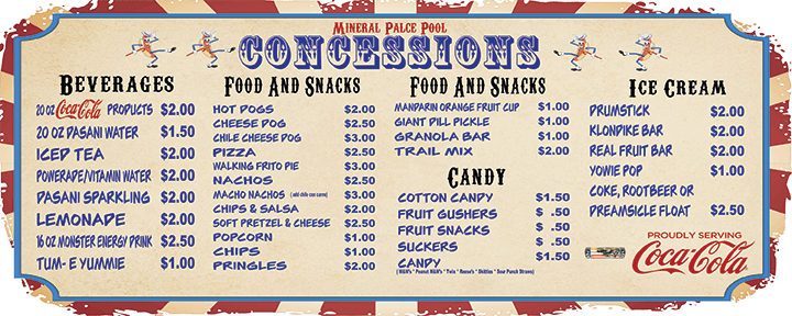 Mineral Palace pool concessions menu