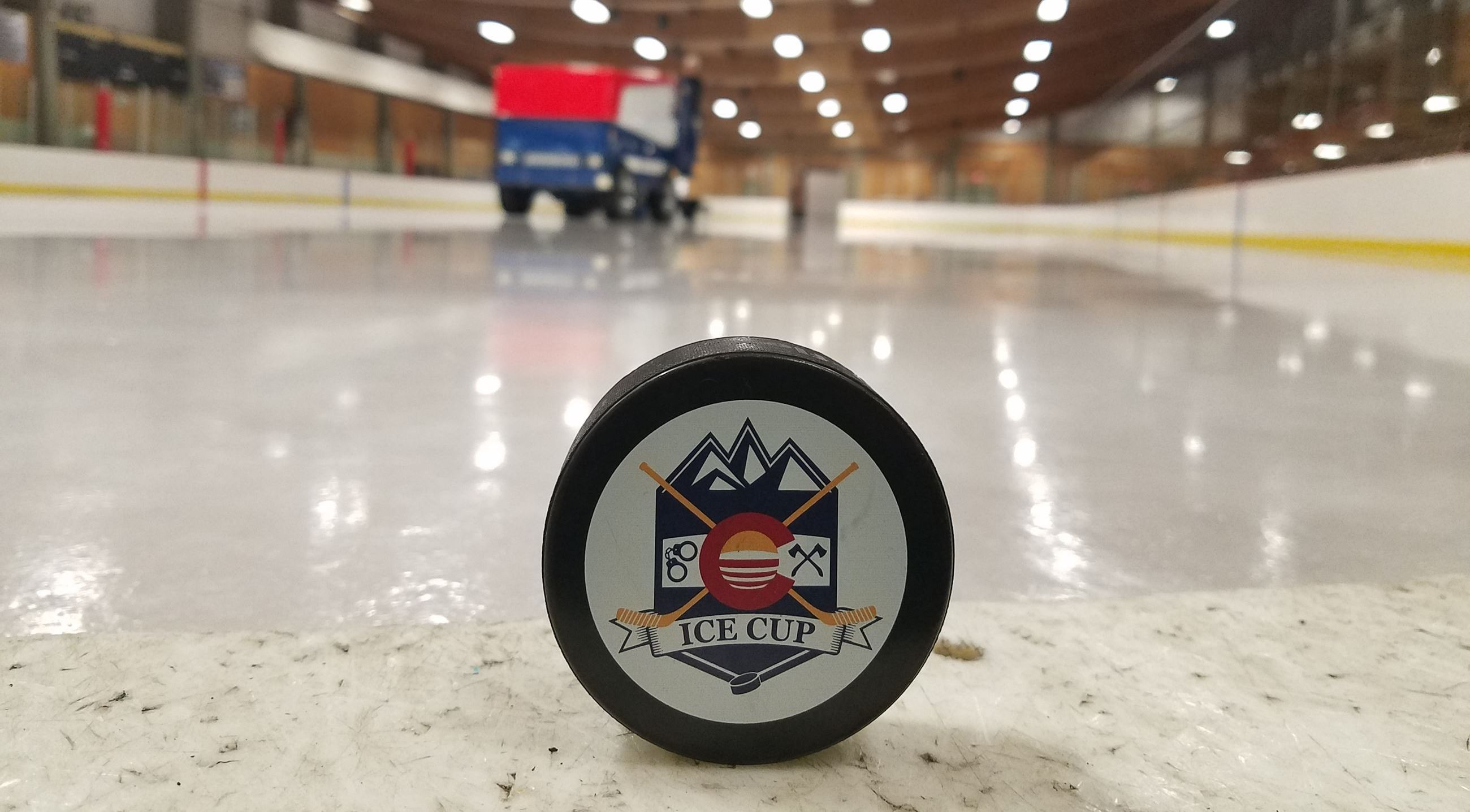 Ice Cup puck and zamboni pic