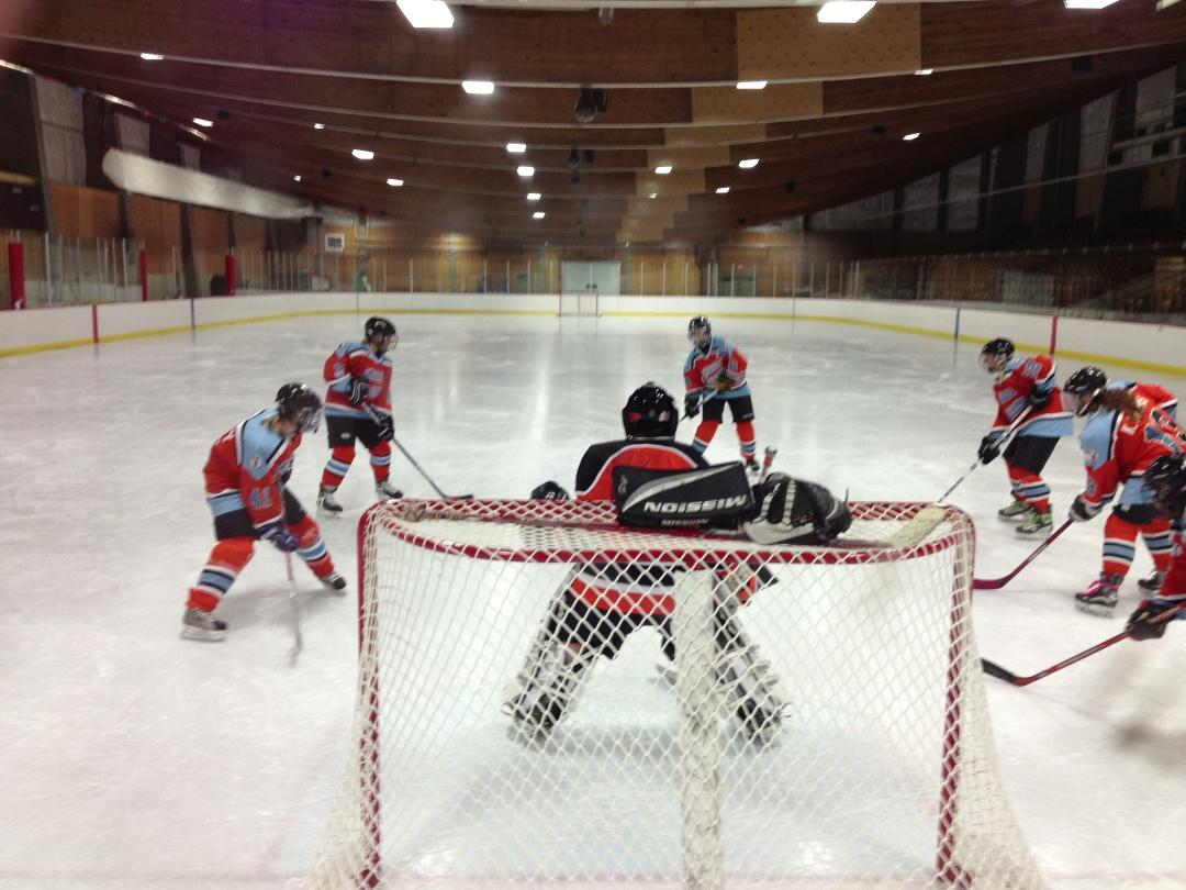 image of Pueblo Women's Hockey team practicing
