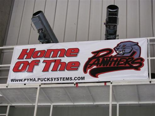 Image of youth hockey banner home of the panthers