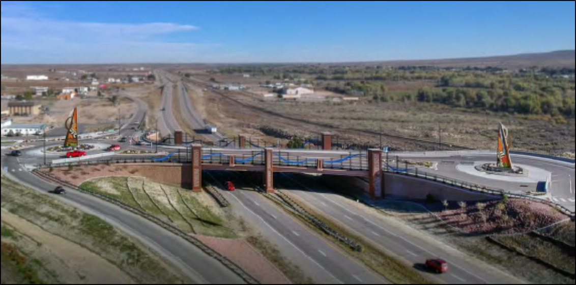Northbound I-25 view of the Gateway to the Southwest Dillon Drive Bridge