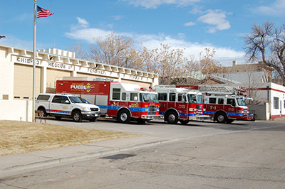 Set of Fire Dept Vehicles in front of Station 1